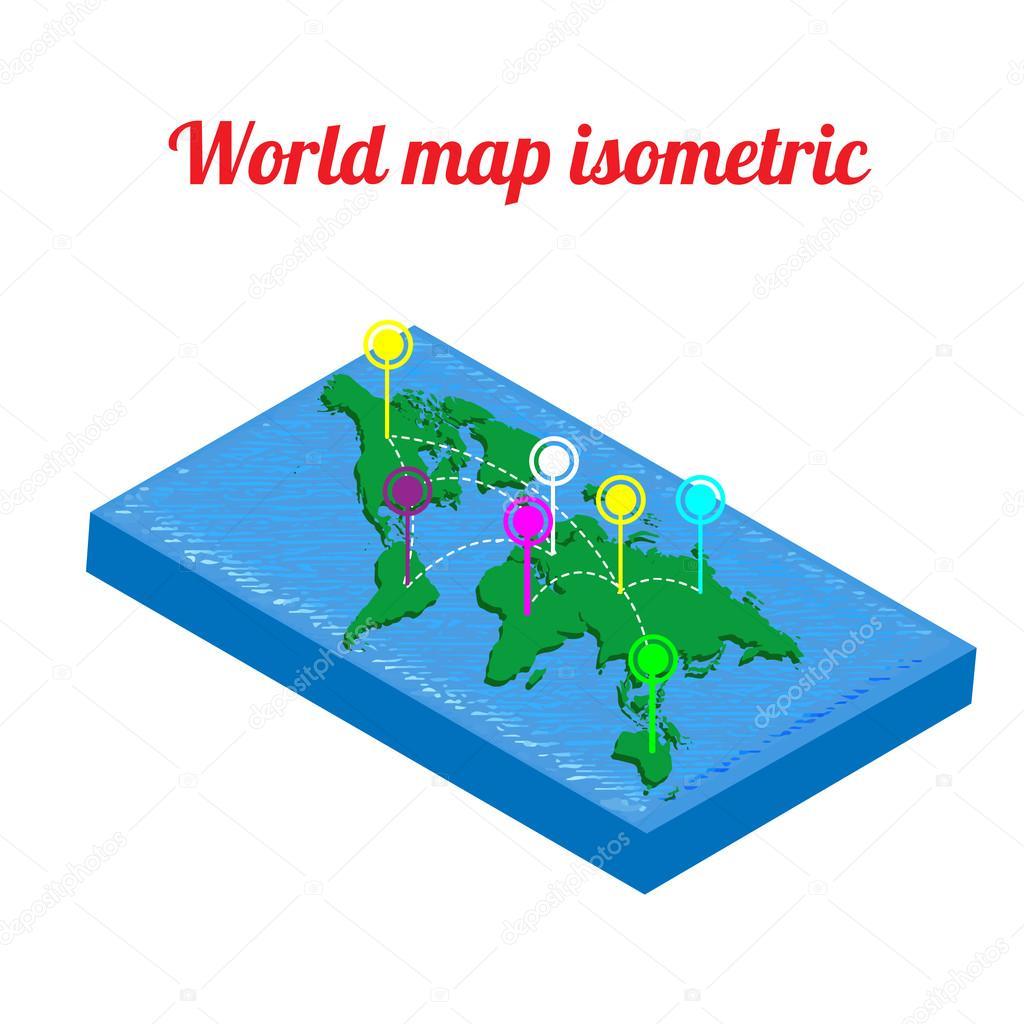 Welt Karte isometrisch. Welt-Map-Objekt. Symbol des Welt-Karte ...