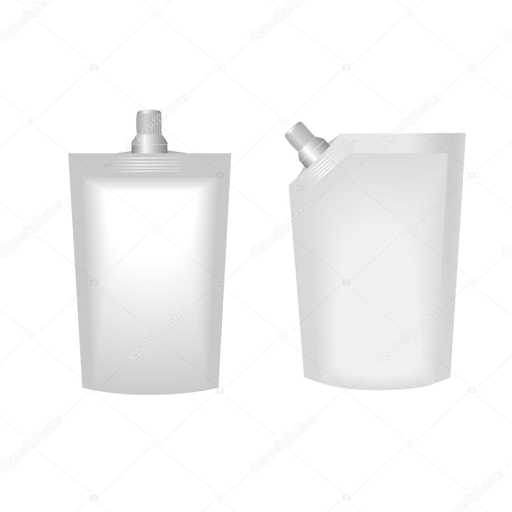White Blank Doy-pack, Doypack Food Bag Packaging With Spout Lid. Products On White Background Isolated. Ready For Your Design. Product Packing. Vector Illistartion