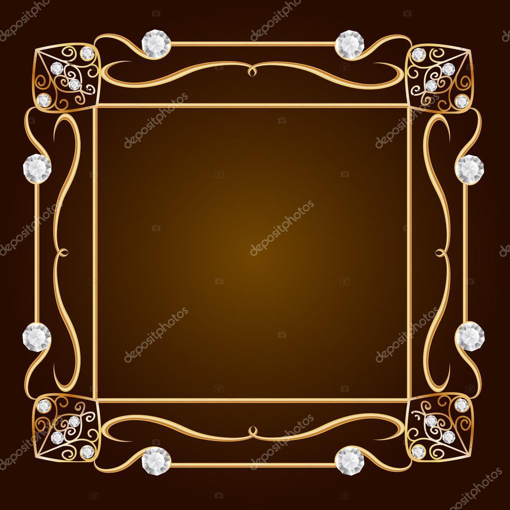 fond de bijoux en or vintage. cadre de diamant. cadre doré — photo