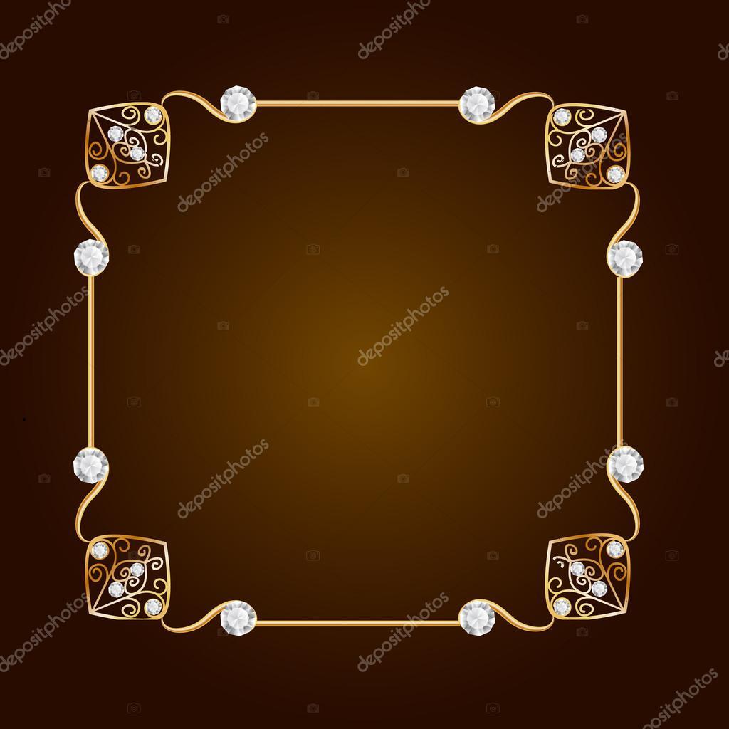 Fondo Vintage joyas de oro. Estructura de diamante. Marco de oro ...
