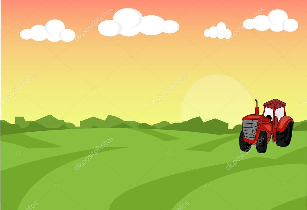 Paisaje plano de la granja con el tractor. Concepto de alimentos ...