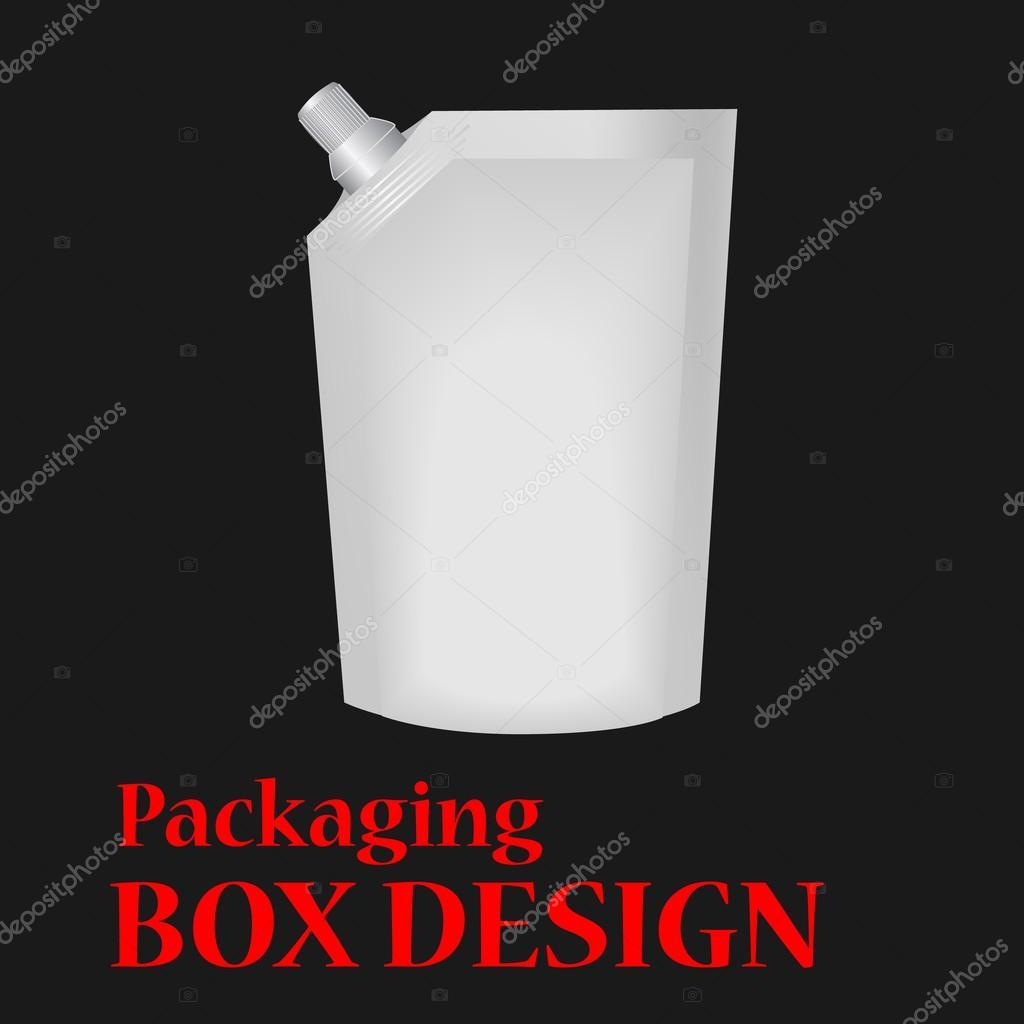 White Mock Up Blank Foil  Bag Packaging.