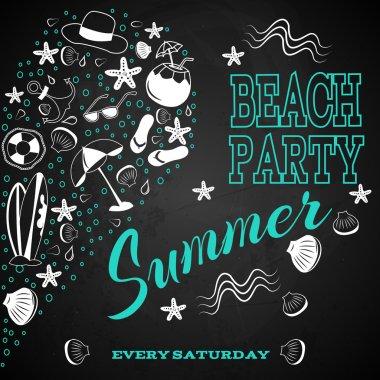 beach party on chalk board
