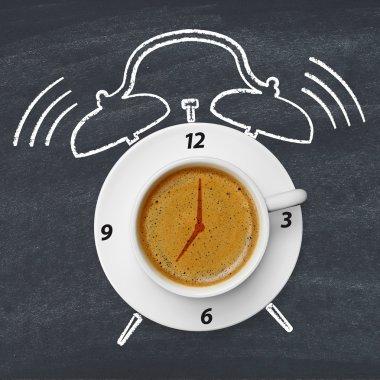 Morning coffee on blackboard
