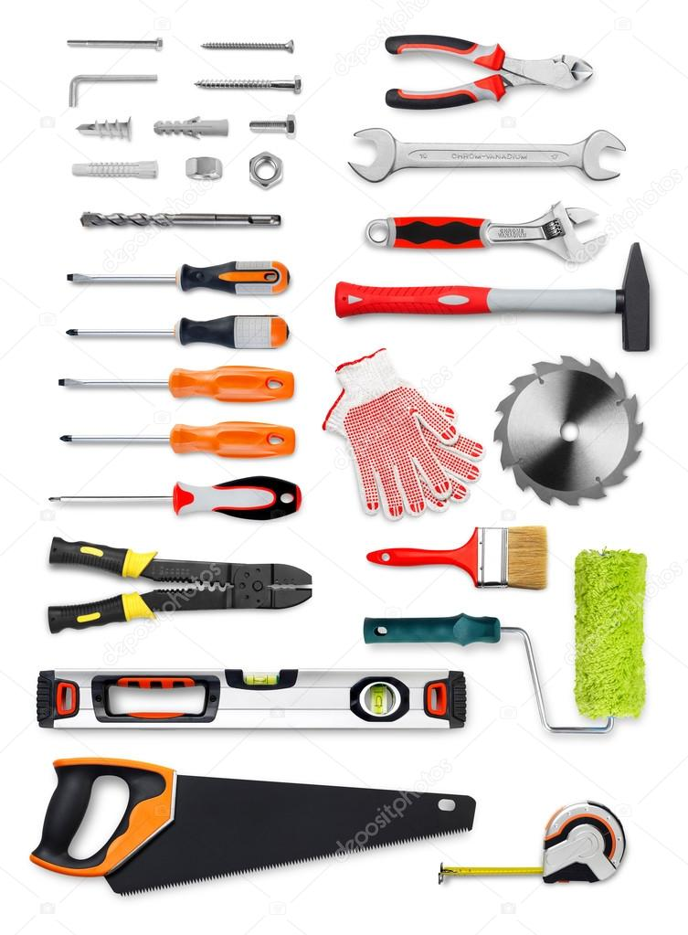 Work tools on white
