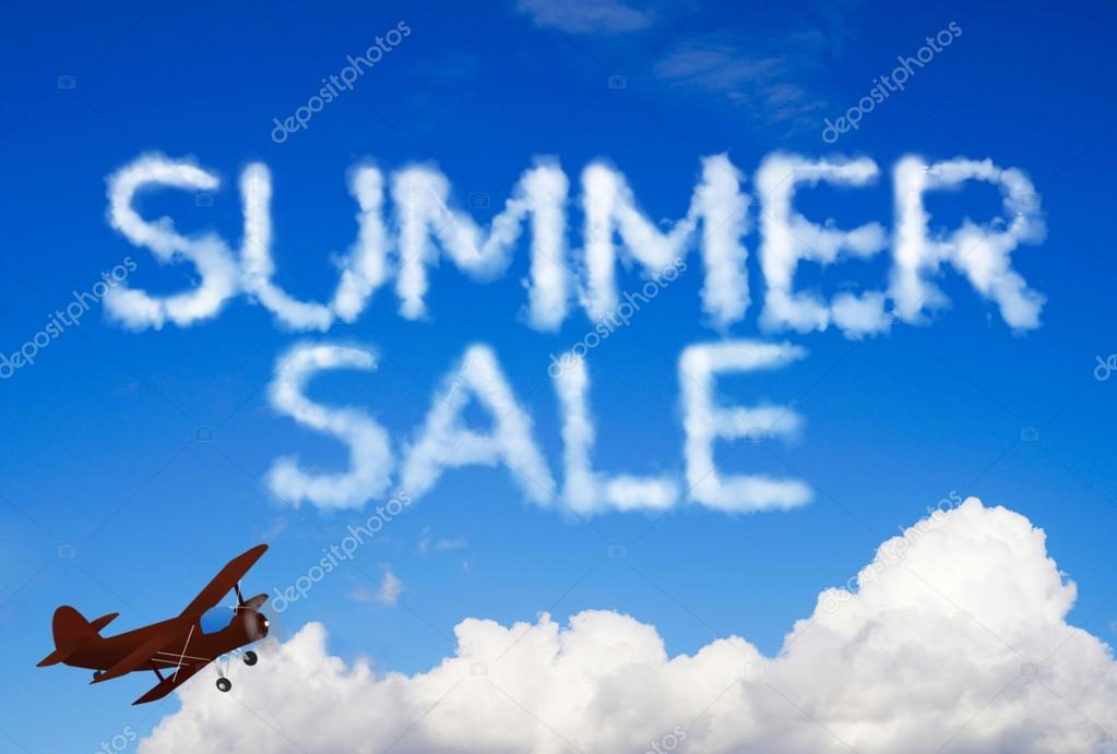 Summer sale message in the sky