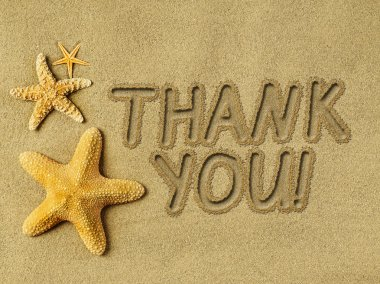 Thank you text on sand