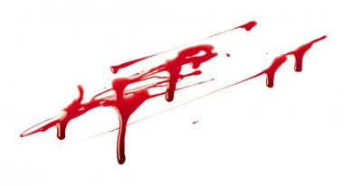 Blood spatter on white