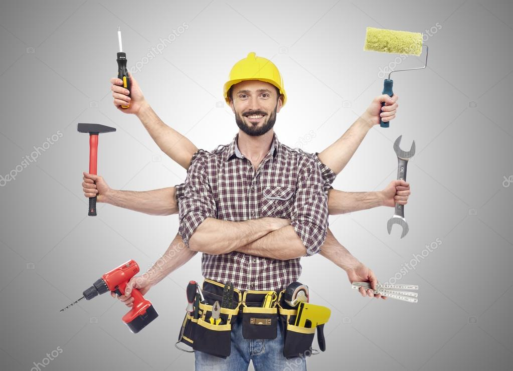 Cheerful carpenter looking at camera with tolls in six hands stock vector