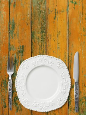 Table setting on wood table