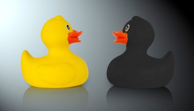 Black and yellow rubber ducks