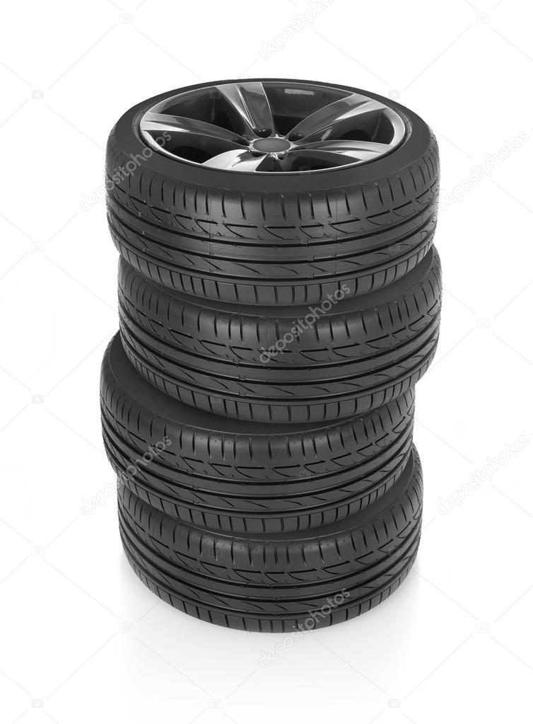 Wheels stack on white