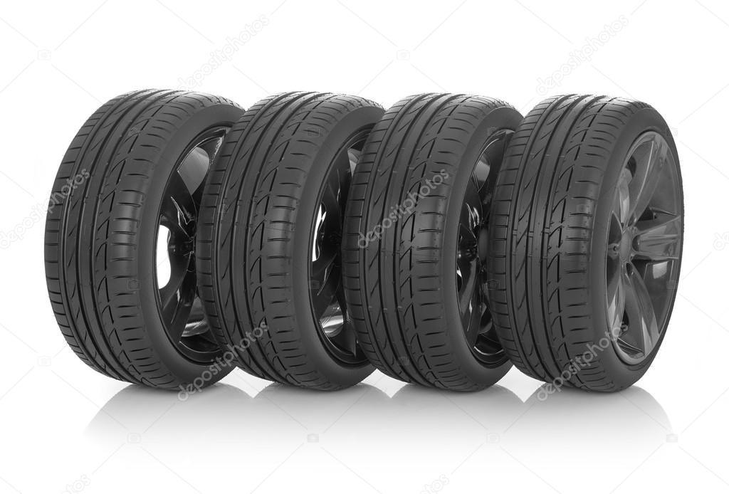 Summer tires on white