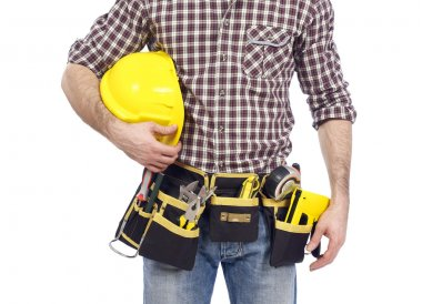 Carpenter with tool belt and hardhat
