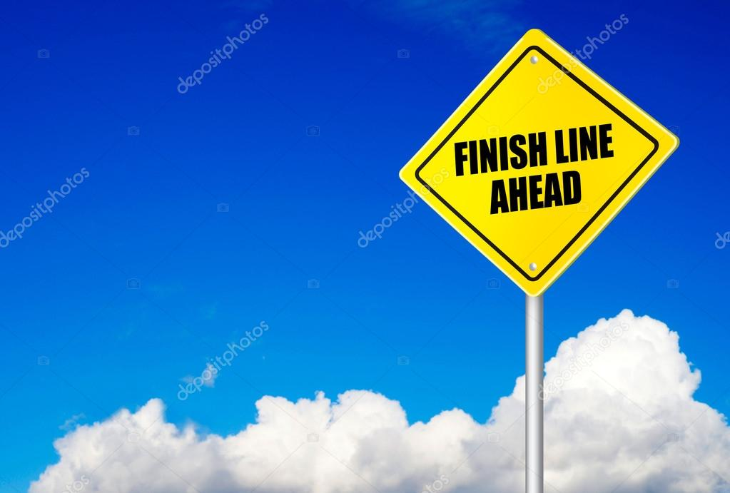 Finish line ahead message on road sign
