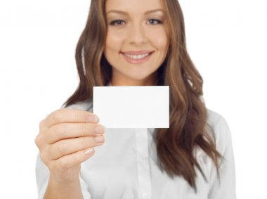 Cheerful woman with business card