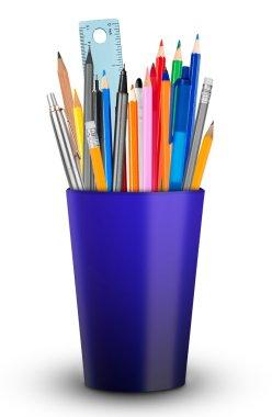 Pencil holder on white