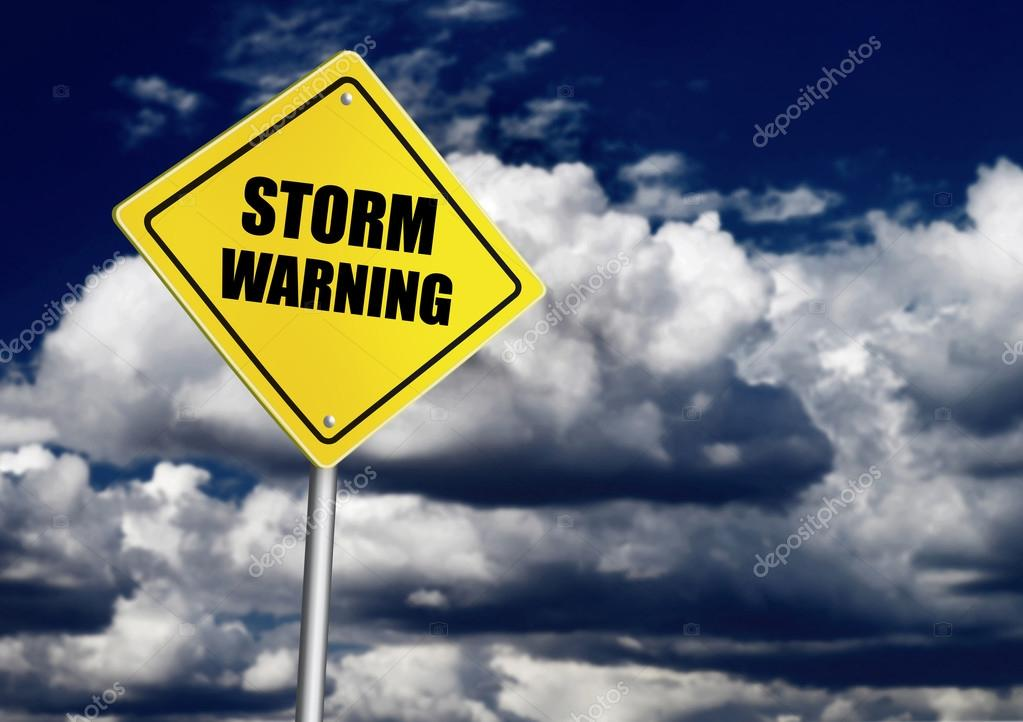 Storm warning road sign