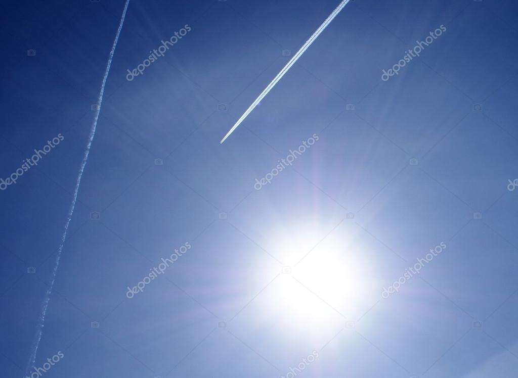 Sun, plane and sky