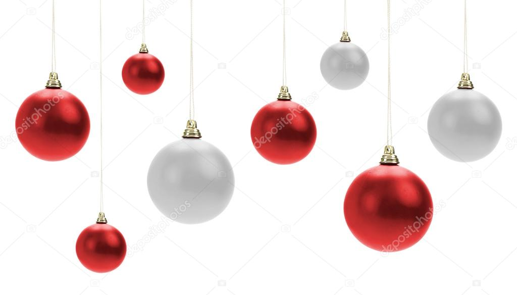 Christmas decorations on white