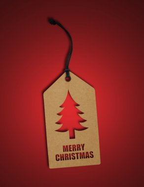 Christmas tag on red