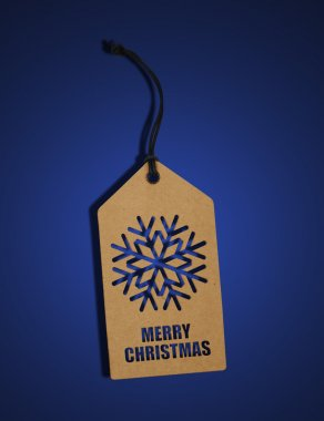 Snowflake label on blue