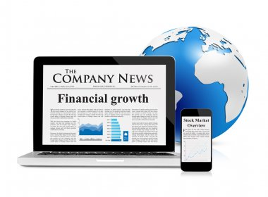 Business news feed on mobile devices and globe