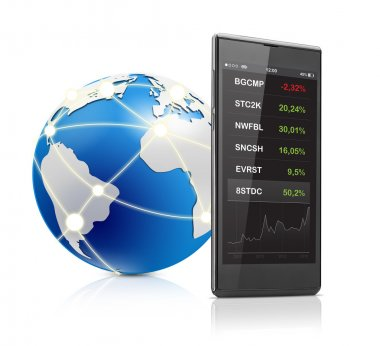 Stock quotes on mobile phone and globe