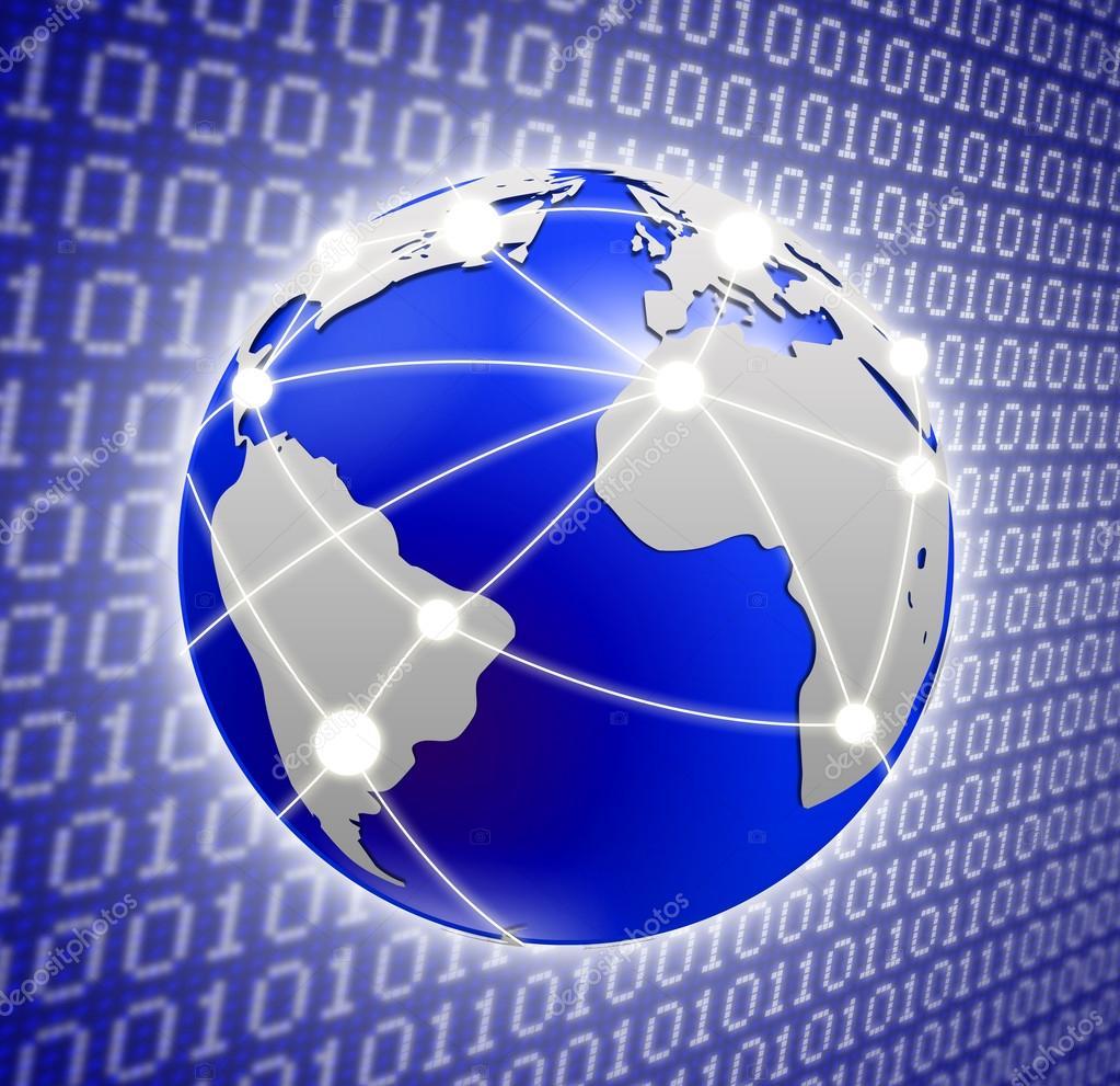 Globe over a binary code