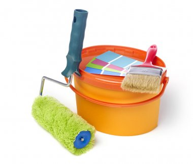 Paint roller, paint brush and paint bucket