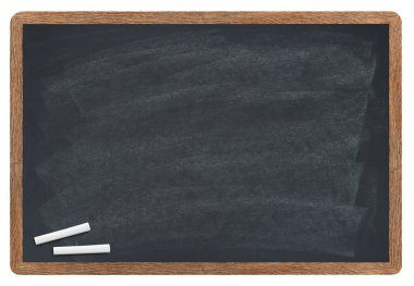 Blank blackboard with chalk isolated on white stock vector
