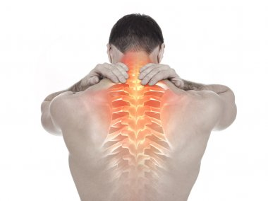 Spine pain, white background
