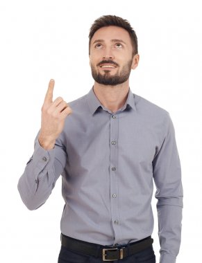 Businessman pointing isolated