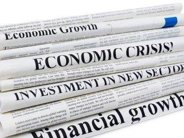 Newspapers close-up shot