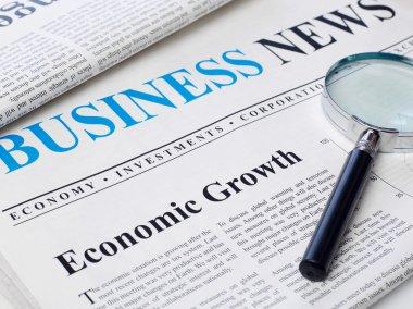 Economic growth headline on newspaper