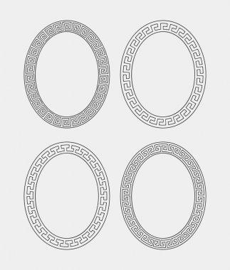 Vector set of four oval meander frames.