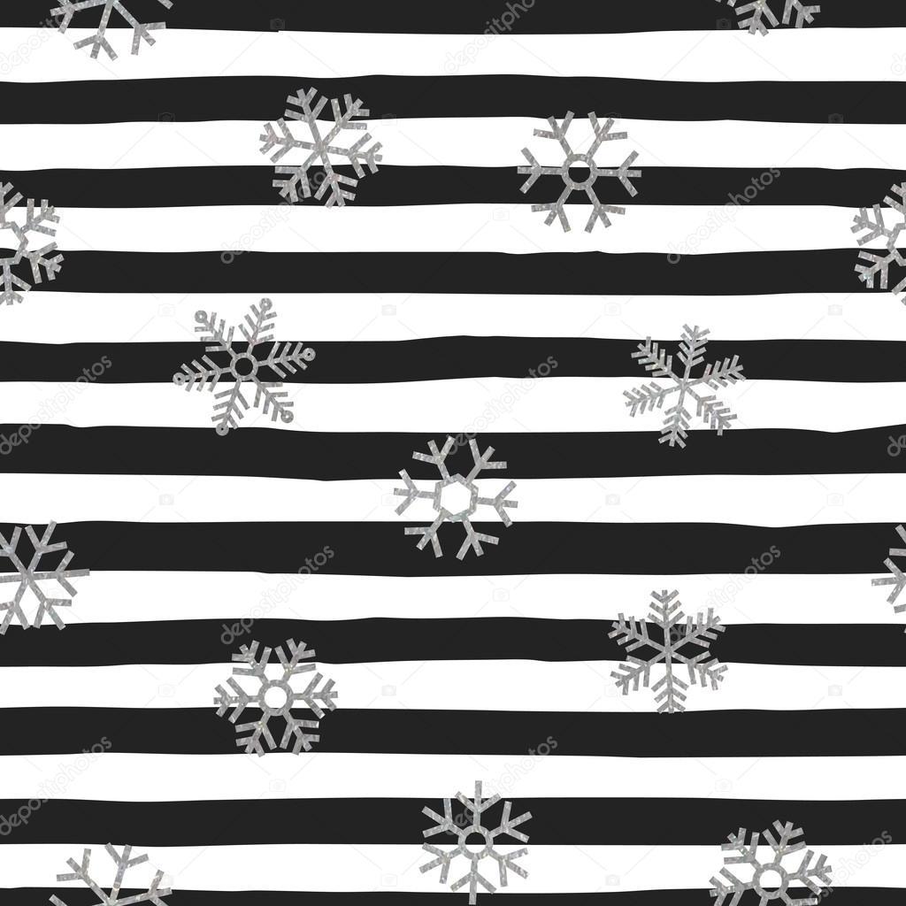 Copos de nieve de patrones sin fisuras de caer plata — Vector de ...