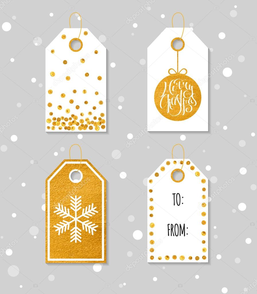 Gold textured festive gift tags ekmelicaail collection of four gold texture christmas and new year gift tags set of festive gift tag sticker and label template for banner invitation postcard negle Choice Image