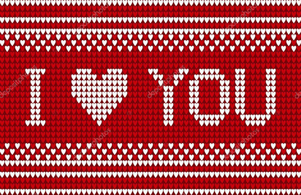 Knitted Pattern With I Love You Inscription Stock Vector