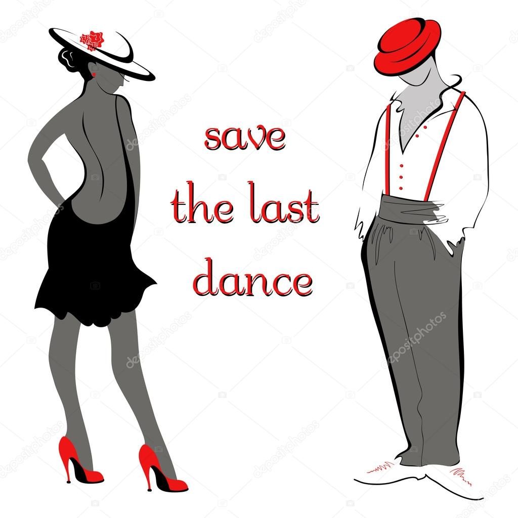 Vector illustration of artistic dancing people. Save the last dance