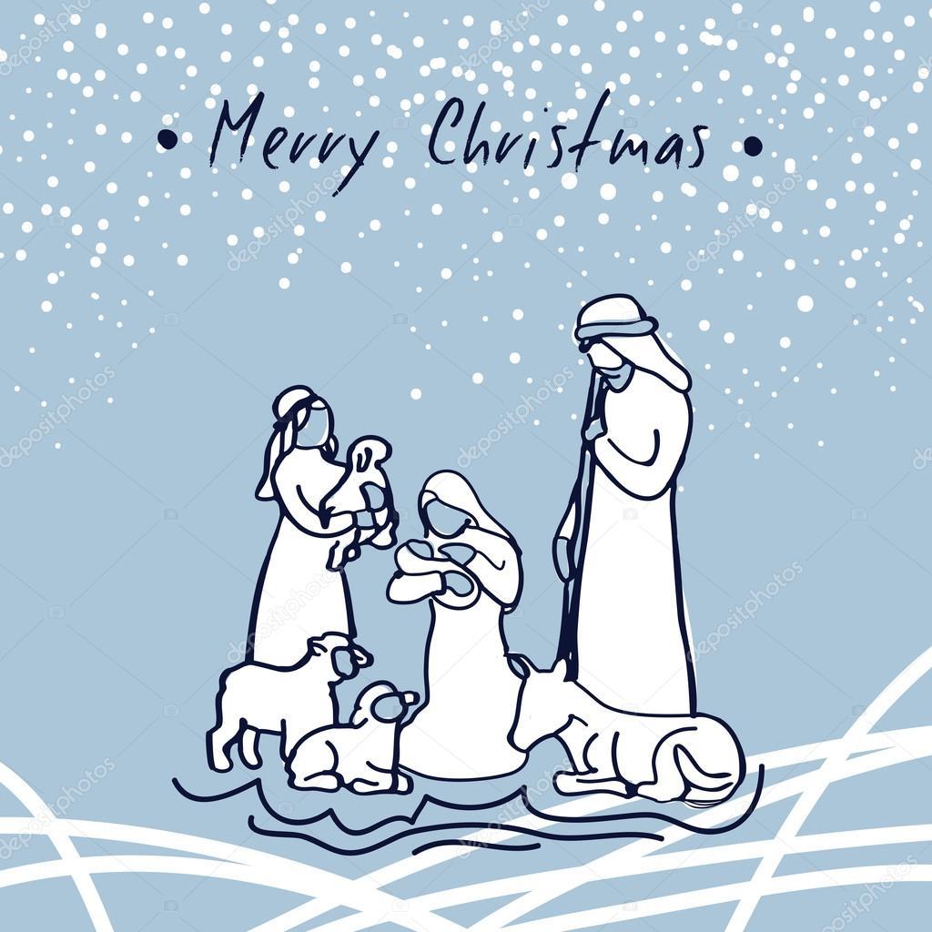 mano bosquej vector saludo tarjeta navidad pesebre con la sagrada familia feliz navidad u vector