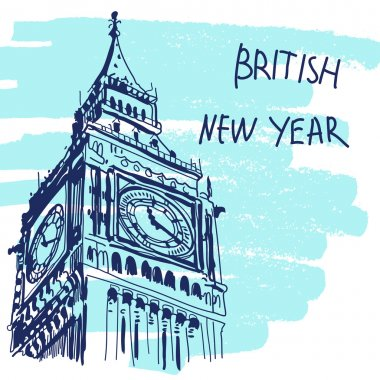 New Year Vector Illustration. World Famous Landmarck Series: Big Ben, London, England. British New Year.