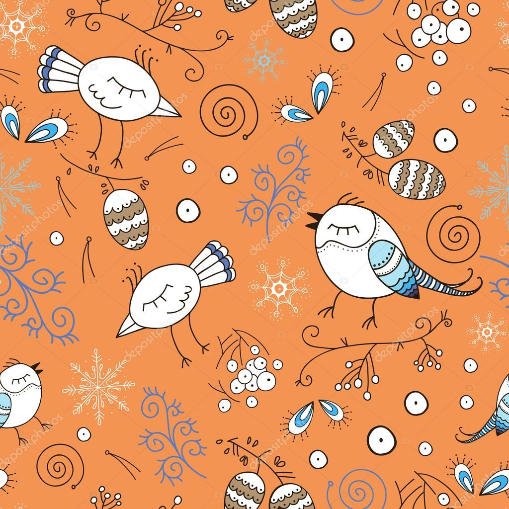 Floral seamless pattern with birds in the forest. Hand drawn birds and plants. Vector pattern for kids. Colorful orange background
