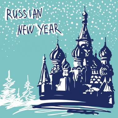New Year Vector Illustration. World Famous Landmarck Series: Rus