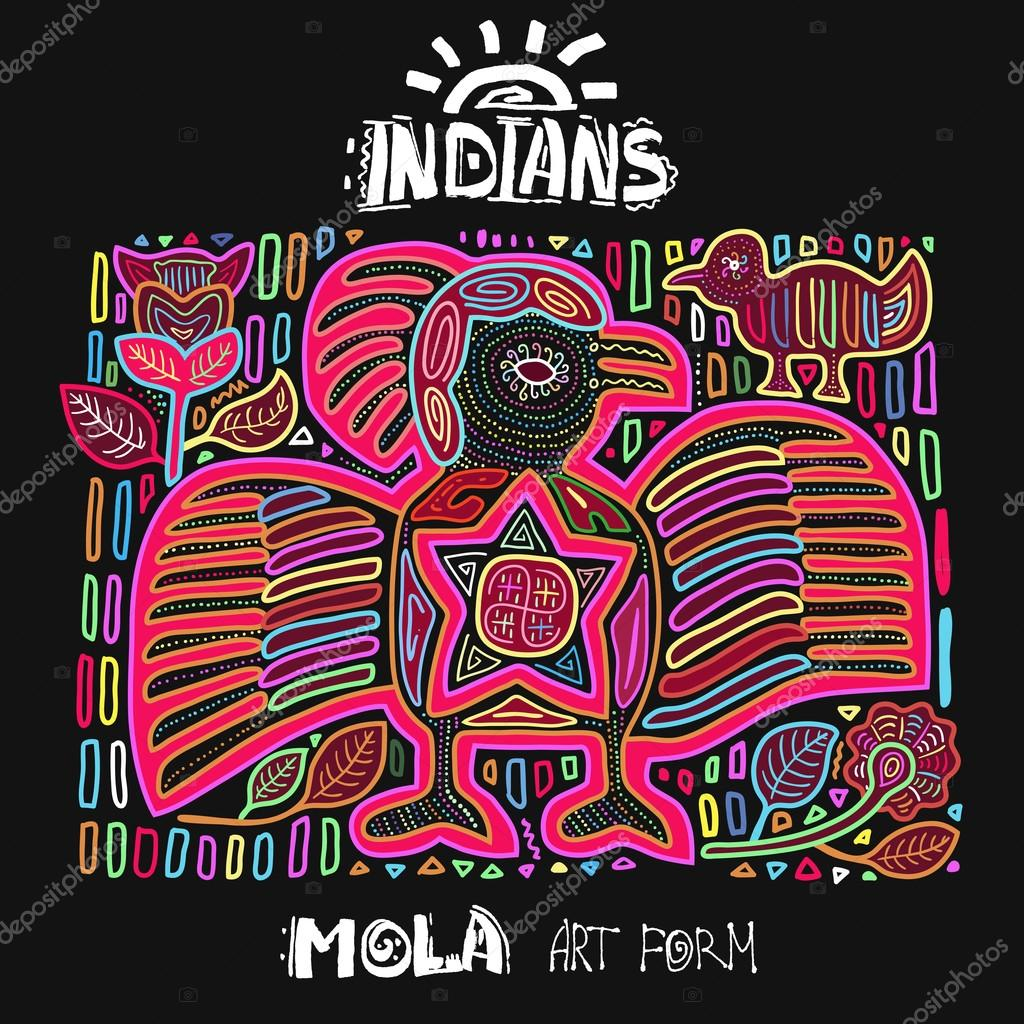 Vector Ethnic Design Element. Indians. MOLA Art Form. Mola Style Bird. Ethno Bright Decorative Illustration