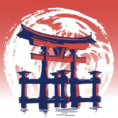 World Famous Landmarck Series: Japan, Itsukushima Torii Gate. Hand Drawn Vector Illustration