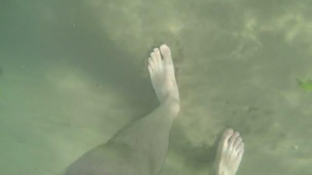 Mans piedi camminano sotto mare