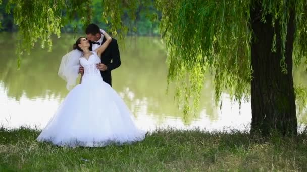 Šťastní novomanželé na přírodu