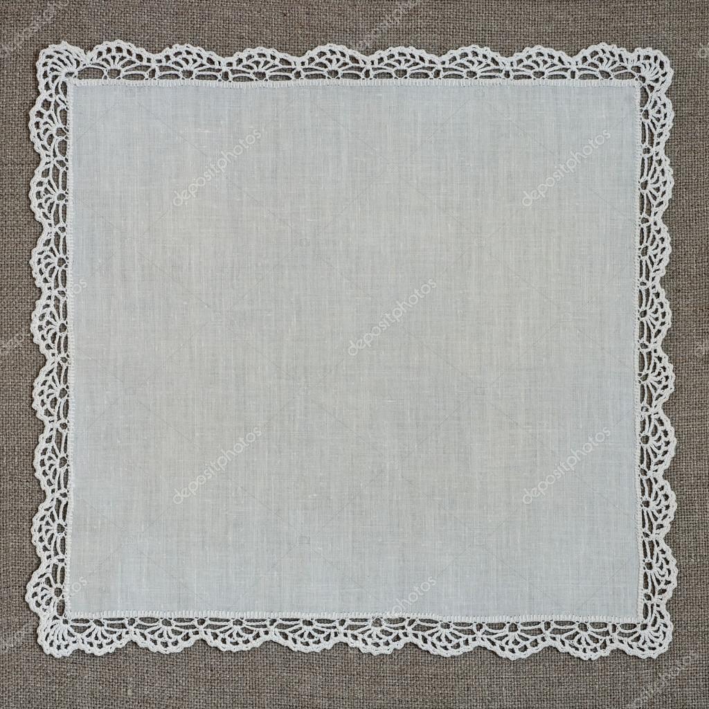 Retro pañuelo con encaje de hilo de lino — Foto de stock ...