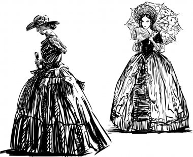 Vector drawing of the women in the vintage dresses. clip art vector